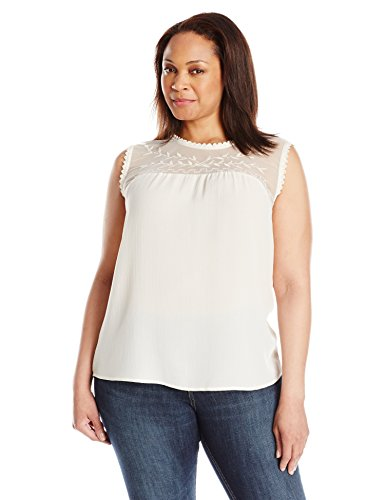 Blu Pepper Women's Plus Size Sleeveless Tank Top with Lace and Embroidery, Natural, 3X
