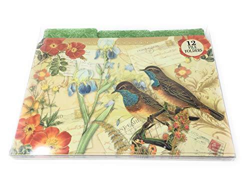 Punch Studio Decorative 1/3 Top Tab File Folders Set of 12 ~ Meadow Lark Birds Gold Foil - Folders Bird File
