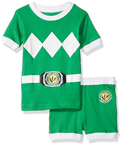 (Power Rangers Boys' Toddler Green Mighty Morphin Pajama Short Set,)