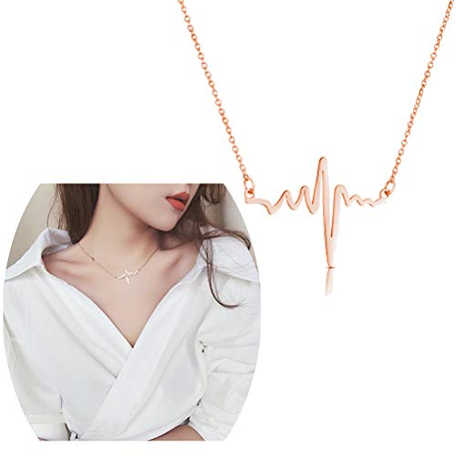 JUESJ Creative Lightning Wave ECG Heartbeat Pendant Necklace for Doctors Nurses Gifts (Rose gold)