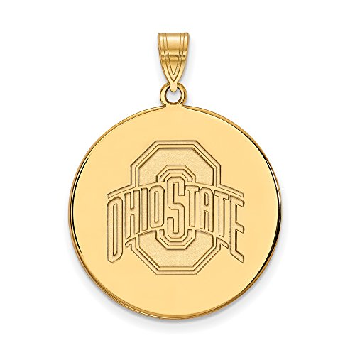 Ohio State Extra Large (1 Inch) Disc Pendant (14k Yellow Gold) by LogoArt
