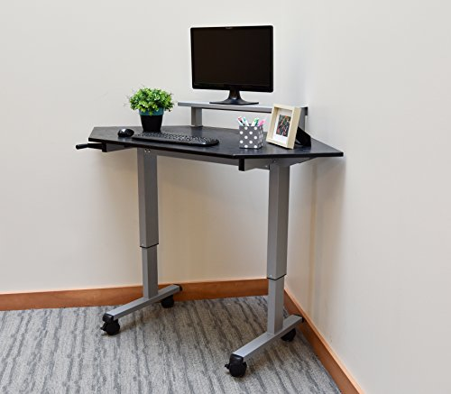 Standing Corner Desk, Sit to Stand Crank Adjustable Height Desk