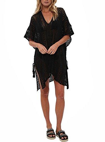 Jeasona Women's Bathing Suit Cover Up Bikini Swimsuit Swimwear Crochet Dress (Black),M