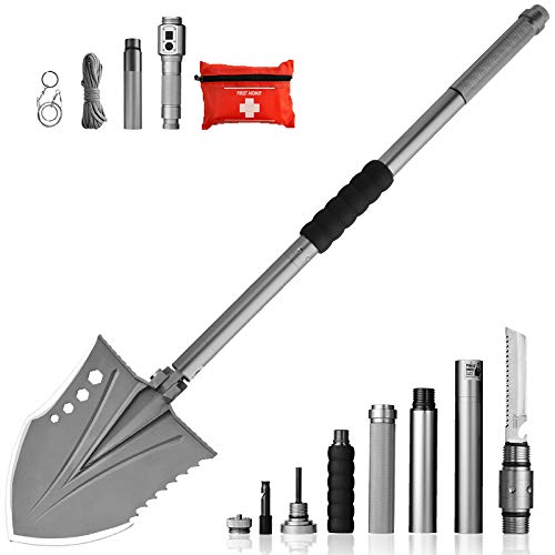 Zune Lotoo Survival Shovel(Crotalus),Casting Steel,with Flashlight,Survival Gear for Adventure, Real-time Search,Camping,Off Road Motors,Brushcraft and Backpacking by Zune Lotoo (Image #9)