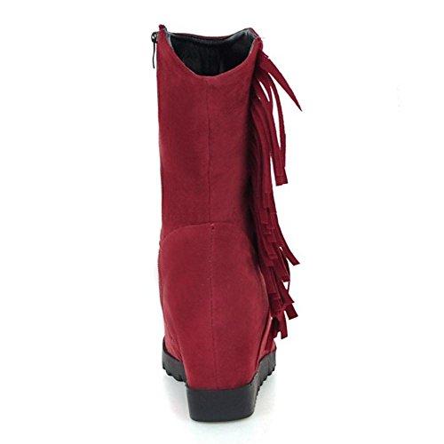 Wedge red Fermeture Bottes RAZAMAZA Femmes Eclair 6xRwCqnYH