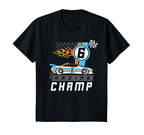 Kids Six Year Old Race Car Theme Birthday Party Tee Racing Champ 8 Black