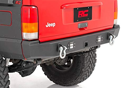 - Rough Country Rear Offroad LED Bumper Compatible w/ 1984-2001 Jeep Cherokee XJ 2 LED Cubes Trail Bumper 110504