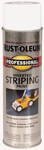 Rust-Oleum 2593838 Professional Stripe Inverted Striping Spray Paint, 18 oz, White