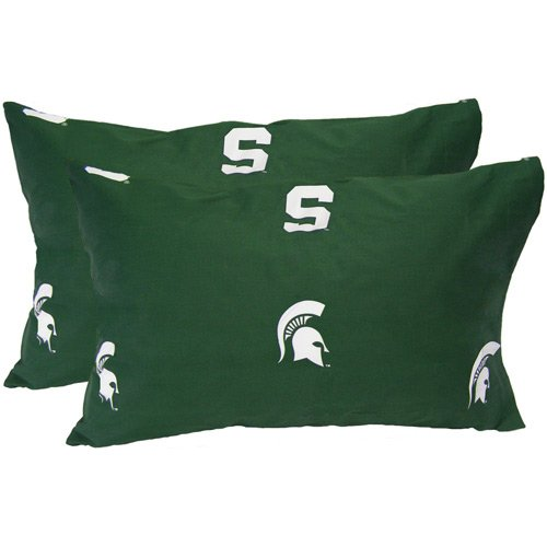 College Covers Michigan State Spartans Pillowcase Pair - King - Solid (Includes 2 King Pillowcases)