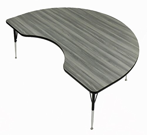 """Correll 48""""x72"""" Kidney Shaped Activity Table, Height Adjustable , New England Driftwood Durable High Pressue Laminate (A4872-KID-52)"""