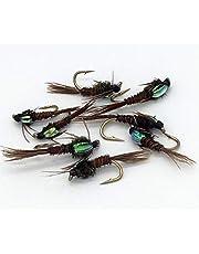 BestCity Tackle - Juego de moscas de pesca tipo ninfa faisán (tamaños 10-12, 8 unidades)