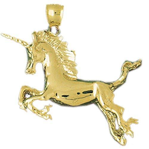 Yellow Unicorn Pendant 14k Gold (14K Yellow Gold Unicorn Pendant Necklace - 39 mm)
