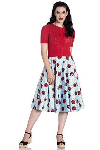 Hell Bunny Lila Ladybug Daisies Vintage Retro 50s Rockabilly Floral Flared Skirt - Blue (Bunny Skirt)