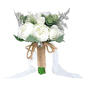 YSUCAU Wedding Bouquet Crystal Roses Bridesmaid Bouquet, Bridal Bouquet Artificial Flowers for Wedding, Party and Church 65