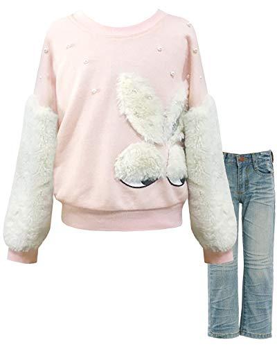 (SaraSara Girls' Long Sleeve Embellished Top & Bottom Set, 2-6X, 7-14 (7, Pink)
