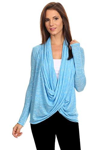 Outlet Cross (Sharon's Outlet Women's Long Sleeve Metallic Criss Cross Cardigan Made in USA: Metallic Blue (Med))