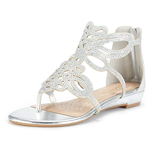 DREAM PAIRS Women's Jewel_02 Silver Rhinestones Design Ankle High Flat Sandals Size 5 M US