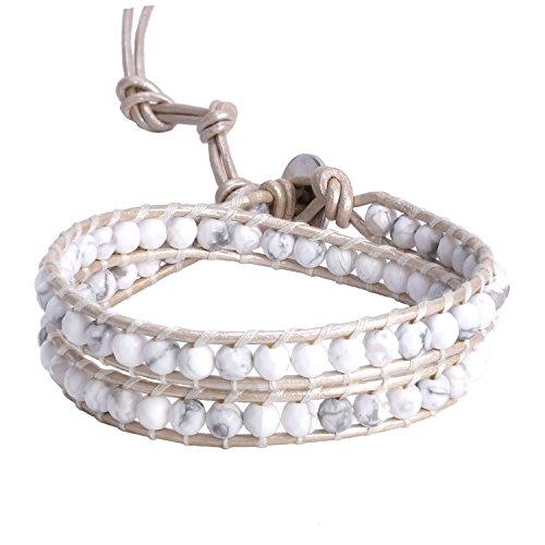 KELITCH Double Wrap Bracelet for Women Braided White Howlite Beads Bracelets on Natural Leather