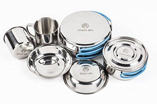 - Black Elk Outdoor Cookware Stainless Steel Set - Includes Pots with Lid, Mugs, Skillet, Bowls and Cutlery Kit - Great for Traveling, Camping, Hiking, Biking and Picnic