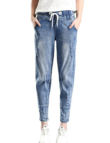 PHOENISING Women's Stylish Ripped Hole Fashion Cropped Jeans Drawstring Relaxed Pants - Hipster Jeans For Women