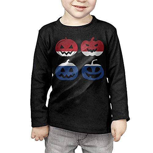 Netherlands Halloween Pumpkin Head Toddler Girls Cotton Long Sleeve Crew Neck Tshirts Top&Tee