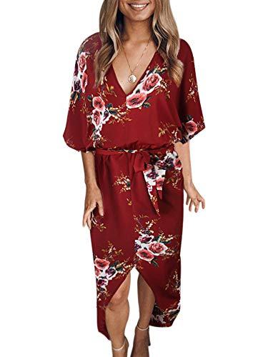 Sleeve Red Short Wine Dress Allumk Belt Neck Casual Floral Split V Womens Dresses Boho with wqUxCZg6SY