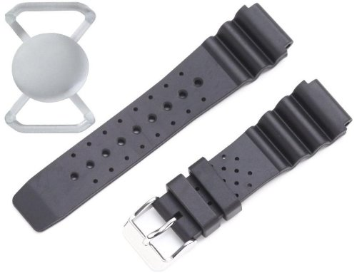 New St. Moritz Momentum Men's 20mm Black Hyper Natural Rubber Watch Band for St. Moritz M1 & M1 Pro SE Dive Watch & Underwater Timer for Scuba Divers with FREE Watch Protector Valued at $12.95 Value for Added Protection to the Glass Face of Your Dive Watch/FBM