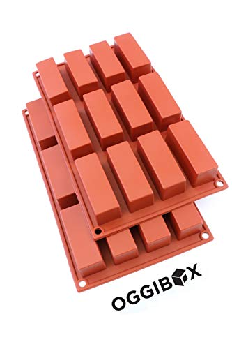 Oggibox 12-Cavity Slim Rectangle silicone mold for Soap, Bread, Loaf, Muffin, Brownie, Cornbread, Cheesecake, Pudding, and More Pack of 2 by Oggibox