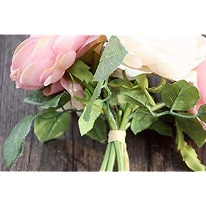 Artificial Rose Silk Flowers 5 Flower Head Leaf Garden Decor DIY pink 4