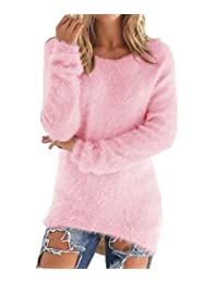 LemonGirl Women's Fashionable Long Sleeve Pullovers Loose Fluffy Fuzzy Jumper Sweater