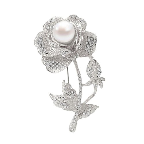 [AMA(TM) Rhinestones Rose Flower Wedding Brooch Pin Handmade Hat Coat Accessory Jewelry Gifts (Silver)] (Cameo Flowers Brooch)