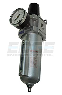 "Heavy Duty Compressed Air Filter Regulator Combo Pggyback, Metal Bowl, 1/2"" Npt Ports, 140 Cfm, Visible Sight Glass, 5 Micron Element"