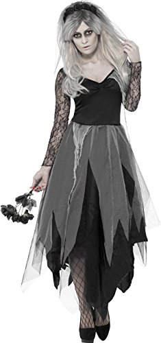 Dead Bride Costume Amazon (Smiffy's Women's Graveyard Bride Costume, Dress and Rose Veil, Legends of Evil, Halloween, Size 14-16, 43729)