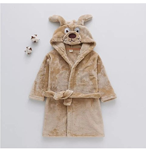 MATISSA Children's Robe Dressing Gown Bathrobe Animal Hooded Towel Robe Sleepwear Cosplay Kids Costumes Pajamas (X Small, Brown Dog) ()