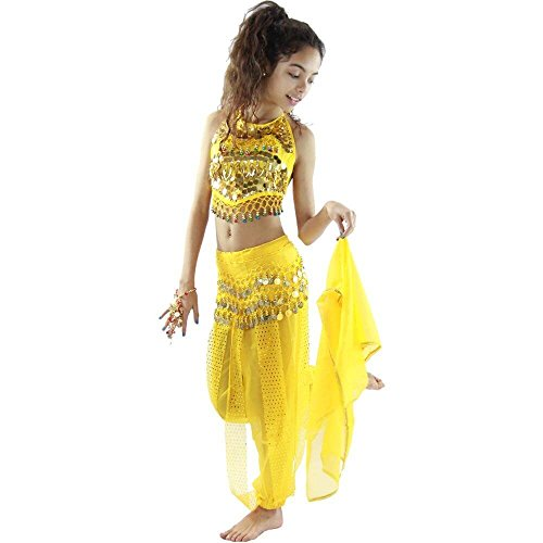 Danzcue Bollywood Little chili 5 piece Children Belly Dance Costume, Yellow, Small