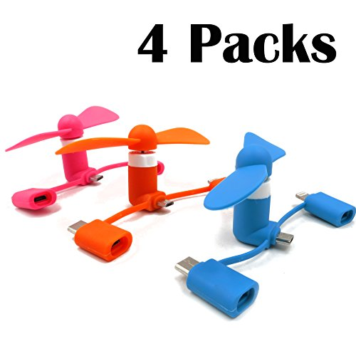 eLUUGIE 4 Packs Mini USB Fan Portable Phone Fan 3 in 1 Handheld Min Fan with IP/Micro USB/USB C Connectors Compatible with iPhone Xs Max Samung Galaxy Note 9,S10,S9 i (4)