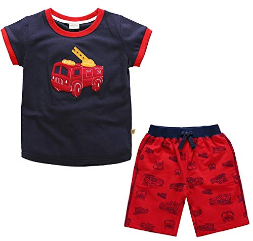 Boys Cotton Clothing Sets Summer Shortsleeve t-Shirts and Shorts 2 Pieces Clothing Sets (Blue Fire Truck, 3T)