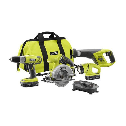 Ryobi ZRP883 ONE Plus 18V Lithium-Ion 4 Tool Super Combo Kit (Certified Refurbished)
