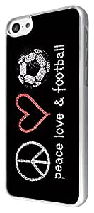 Iphone 5C CooL Funky peace love football Design Fashion Trend Case Back Cover Metal and Hard Plastic Case