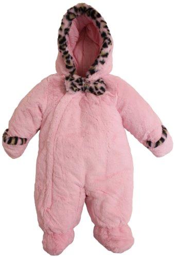 75be4cdd6403 Rothschild Baby Girls Newborn Infant Leopard Trim Teddy Plush Pram ...