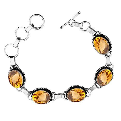 11.50Gms,7.80 Ctw Genuine Citrine Quartz 925 Sterling Silver Overlay Handmade Fashion Bracelet Jewelry by Sterling Silver Jewelry
