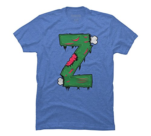 Z for Zombies Men's Small Ocean Blue Heather Graphic T Shirt - Design By Humans -