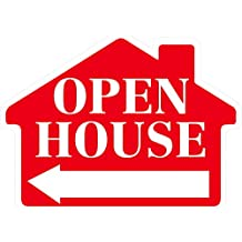 OPEN HOUSE Sign with Arrow - House Shape Corrugated Sign