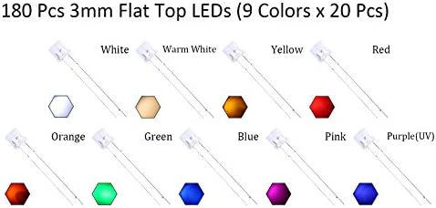 5mm Flat top Red Yellow Blue Green Warm White Orange Purple Pink Led Leds Light