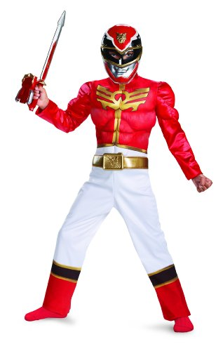 [Disguise Power Ranger Megaforce Red Ranger Boy's Muscle Costume, 7-8] (Red Halloween Kids Costumes)