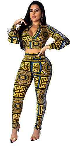 (Womens Sexy 2 Pieces Printed Zipper Jackets Tops Bodycon Legging Pants Party Clubwear Tracksuit Outfits Set Yellow)