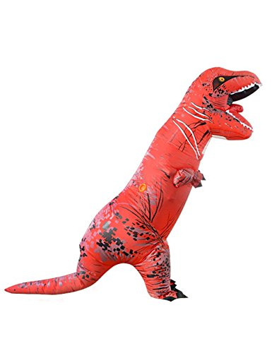 [Gameyly Adult Colorful Dinosaur Costume T Rex Jurassic Outfit Red] (T Rex Costume Video Inflatable)