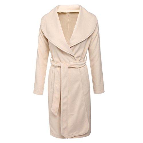 Corgy Women Waterfall Belted Coat Oversized Wool Textured Jacket Outwear