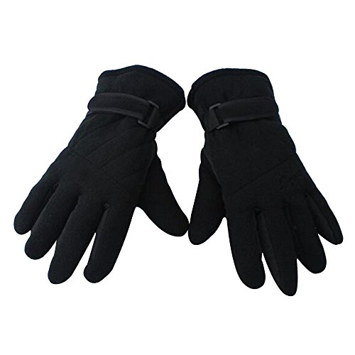 Baiyu Winter Polar Fleece Anti-slip Sports Gloves Unisex Outdoor Windproof Thermal Warm Thickening Full Finger Gloves for Cycling Skiing Hiking Hunting Climbing Camping Motorcycle--Black