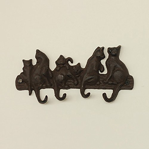 ZEMIN Wall-mounted Coat Rack Clothes Hat Stand Hanger Holder Decoration 4 Hooks Antique Deliberately Aged Iron, 21.711.51.8CM (Color : Dark brown) by ZEMIN-yimaojia